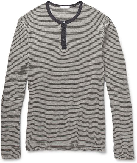James perse striped cotton and cashmere blend henley t for James perse henley shirt