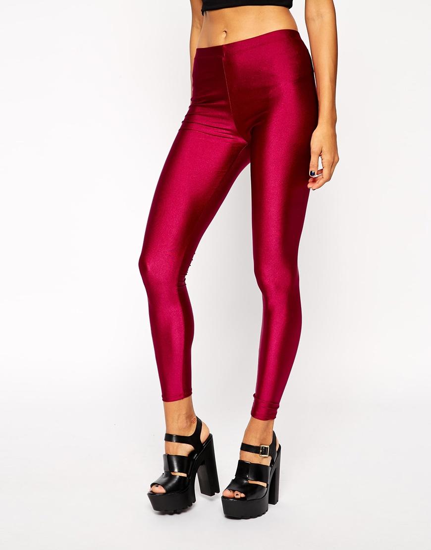 9fd81bdfac24d4 ASOS Shimmer Disco Leggings in Purple - Lyst