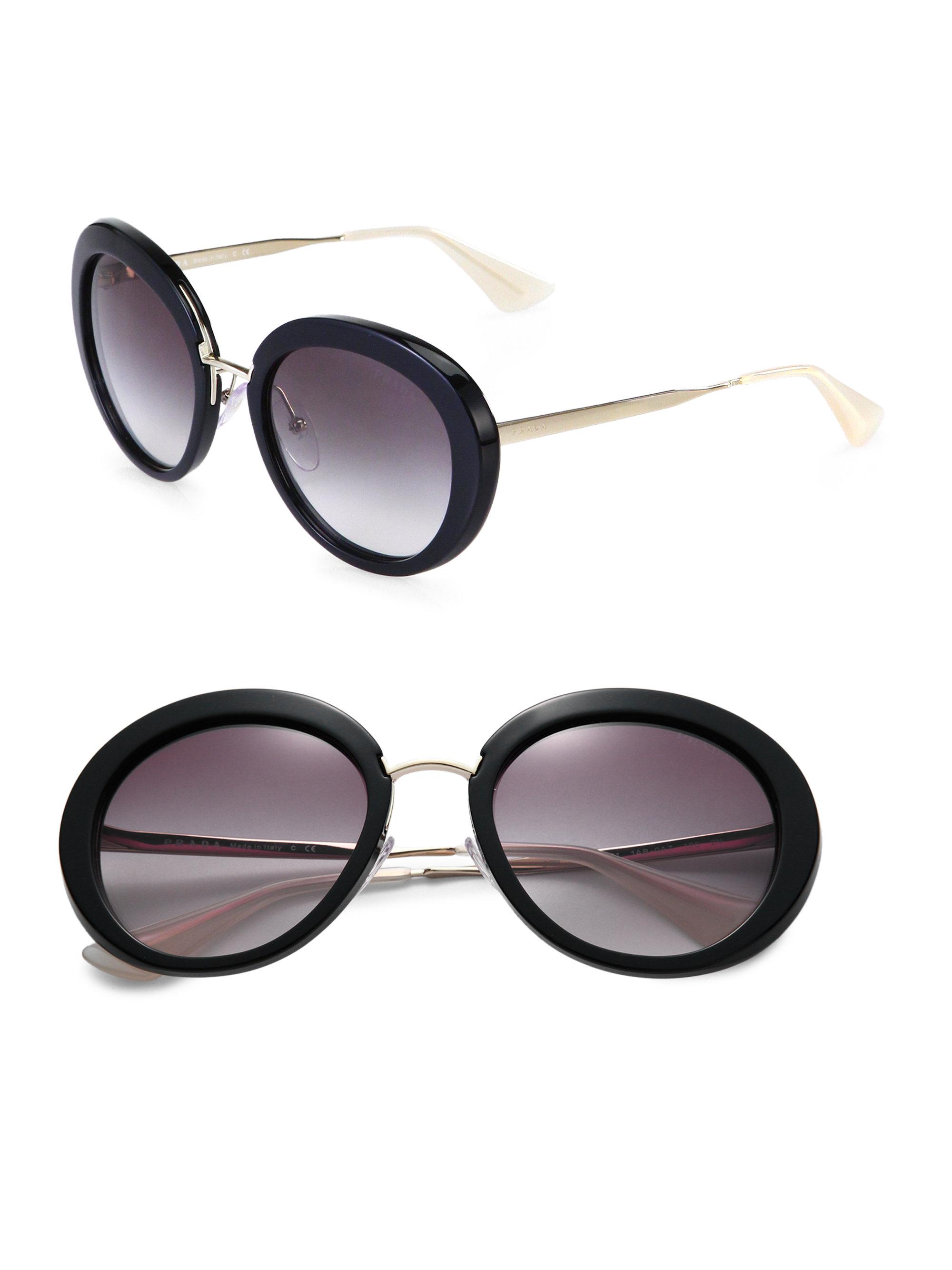 722cc100f8 ... australia lyst prada round plastic metal sunglasses in black f683f 9f761