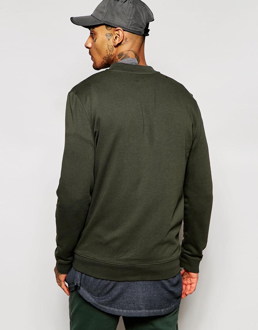 Asos Jersey Bomber Jacket In Khaki in Green for Men
