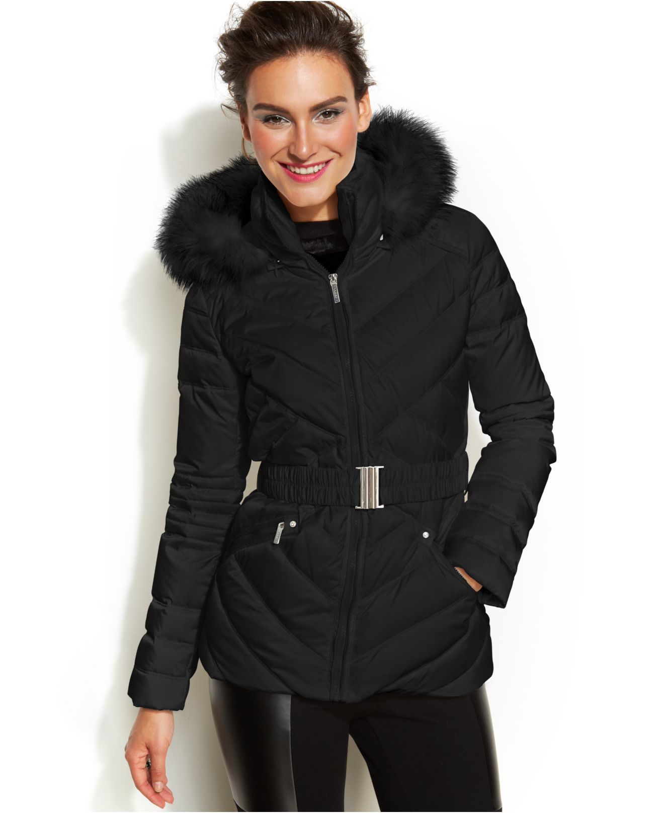 Womens black padded jacket with fur hood