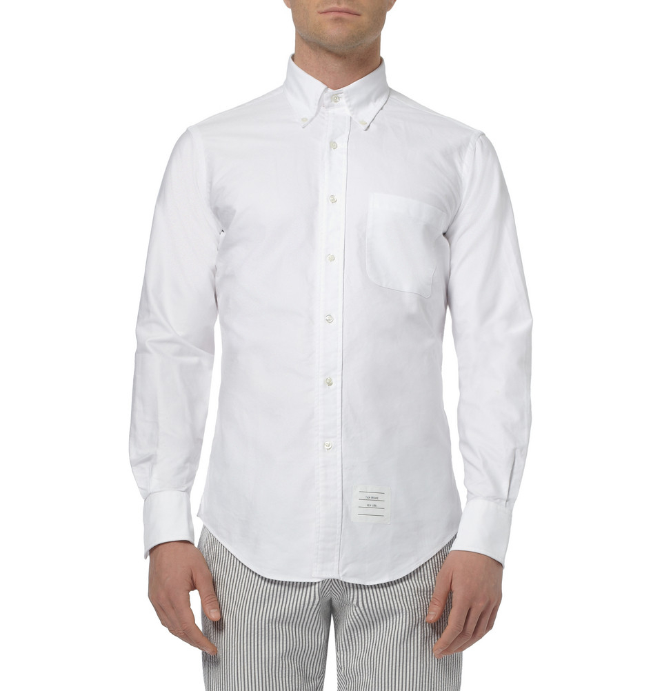 Thom browne buttondown collar cotton oxford shirt in white for White button down collar oxford shirt