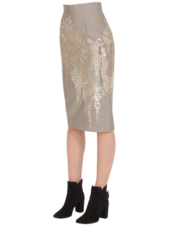larusmiani wool blend jacquard pencil skirt in white lyst