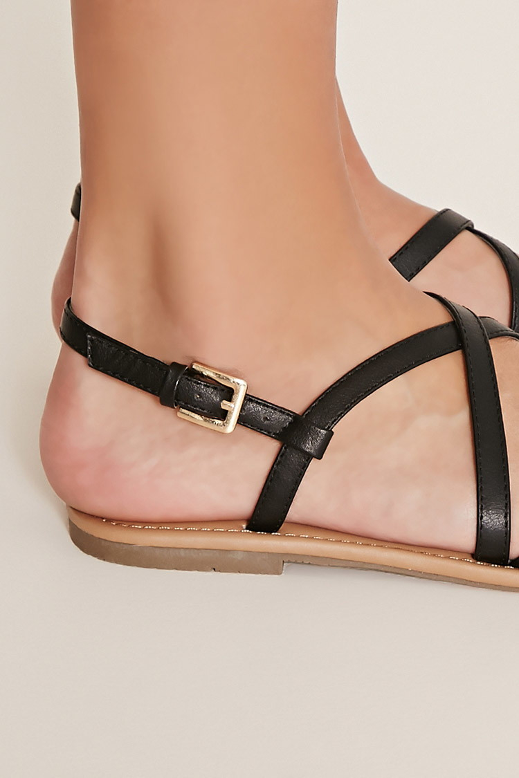 9b31f8dd3efb Forever 21 Crisscross Faux Leather Sandals in Black - Lyst