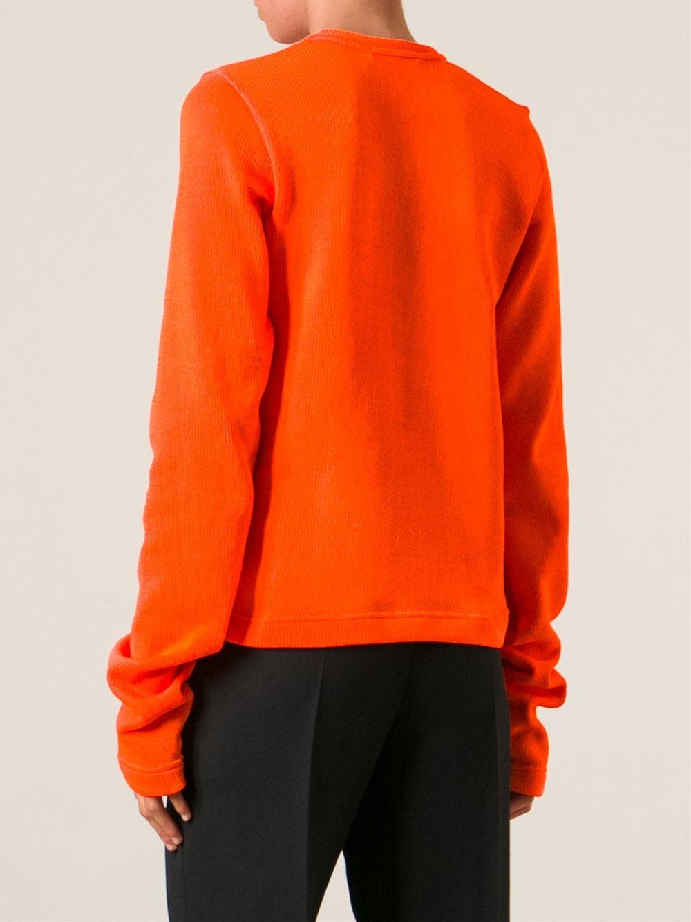 Comme des garçons Extra Long Sleeve Sweater in Orange | Lyst