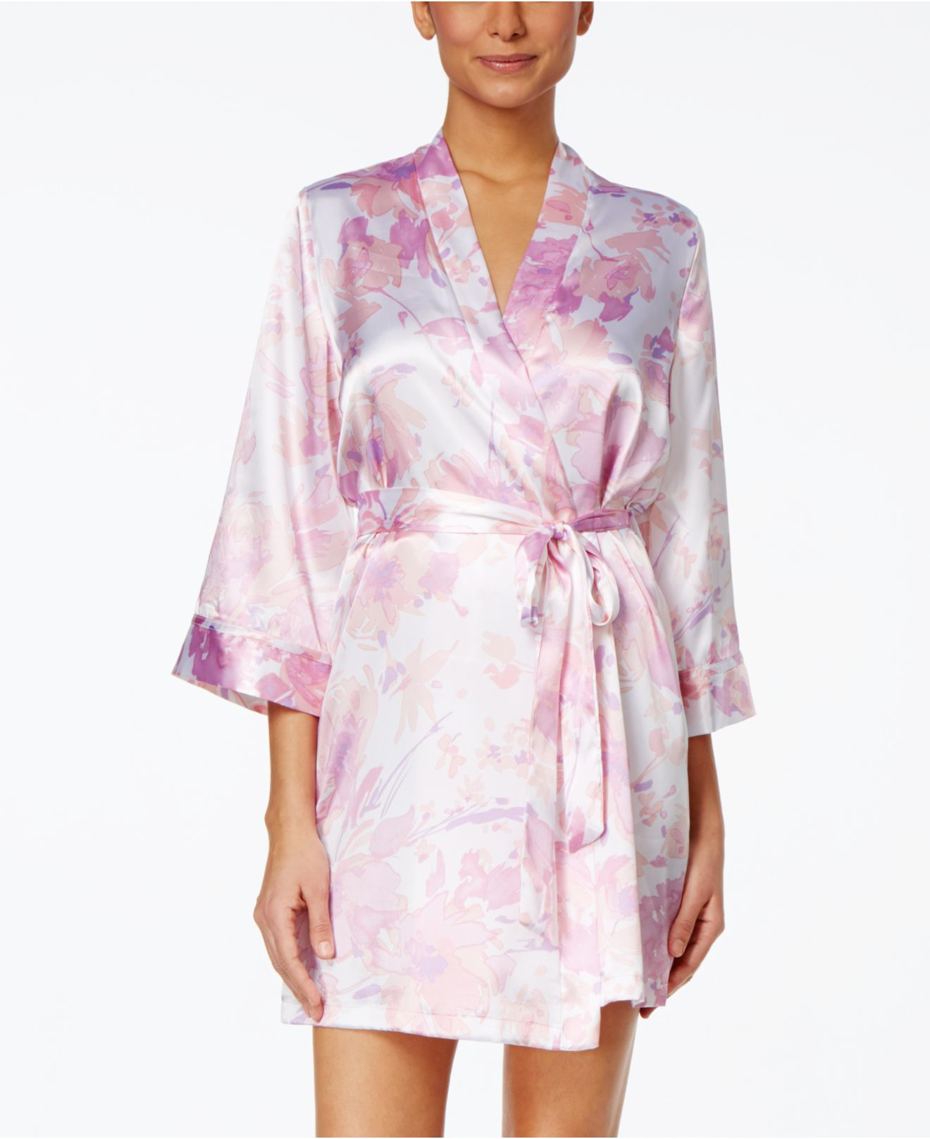 4c00042063 Lyst - Linea Donatella Floral-print Satin Wrap Robe in Pink