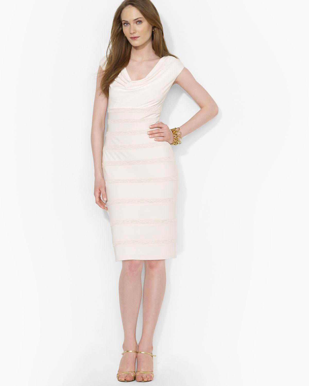 Lyst - Ralph Lauren Lauren Dress - Cap Sleeve Tonal Lace Inset ...