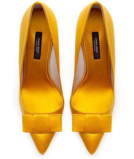 Zara Silk Satin High Heel Court Shoe in Yellow (Mustard