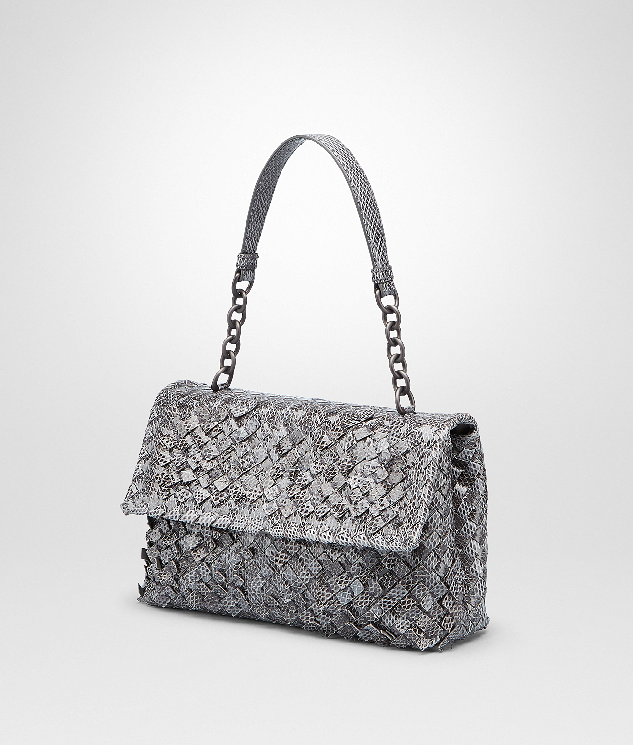 Bottega Veneta New Light Grey Intreccio Tobu Ayers Olimpia Bag in ... cc3e89f18d245