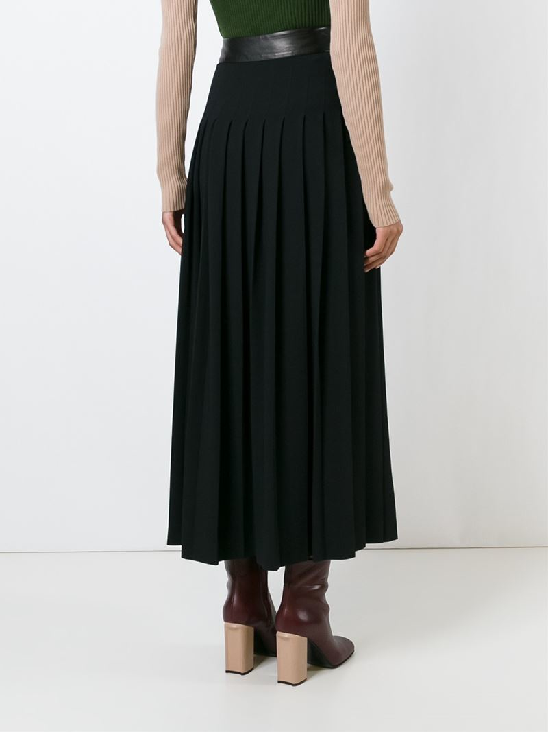 Lyst - Petar Petrov Pleated Long Skirt in Black