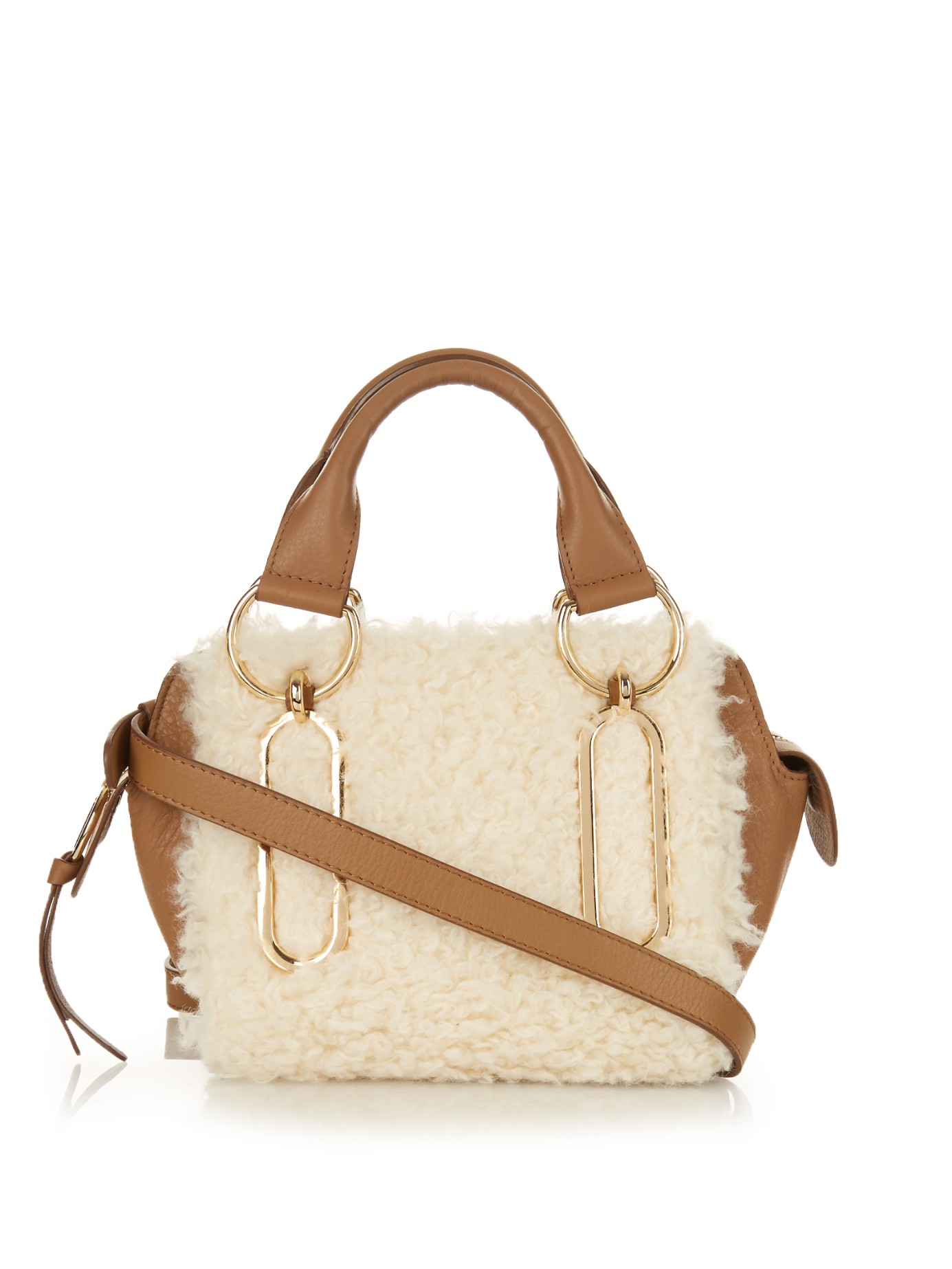 5aee3a5499ff Lyst - See By Chloé Paige Mini Leather and Shearling Shoulder Bag in ...