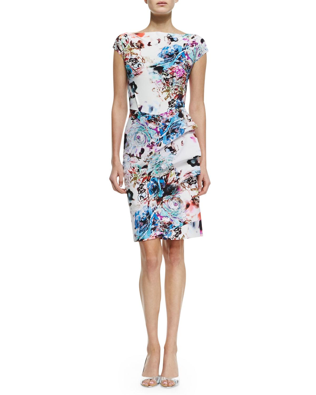 la petite robe di chiara boni floralprint ruchedskirt cocktail dress in floral flrl cyclmn st83. Black Bedroom Furniture Sets. Home Design Ideas