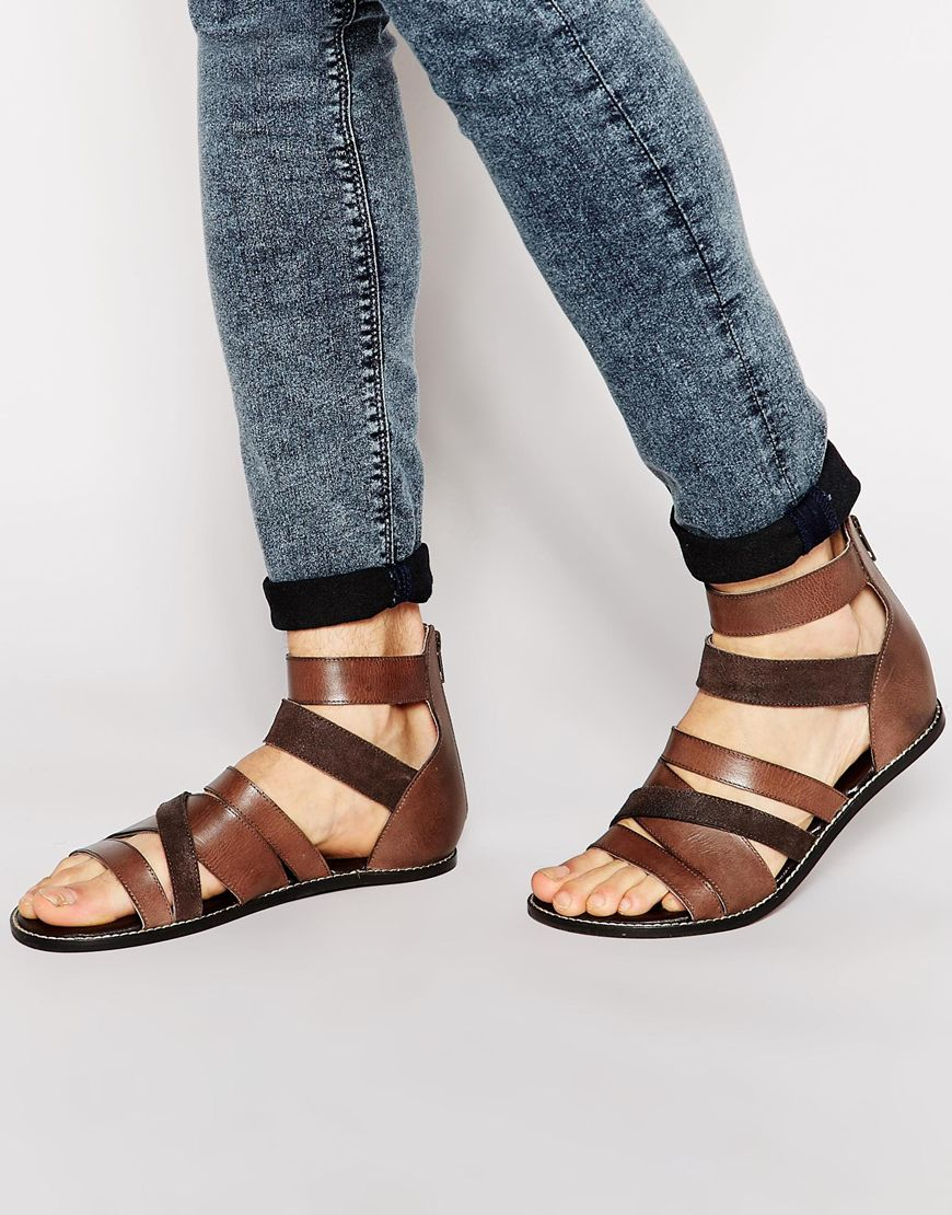 Asos Sandals In Leather In Brown For Men Lyst
