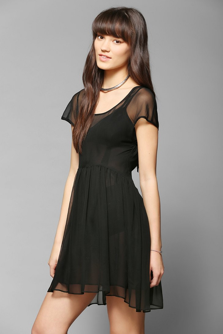 Black chiffon babydoll dress