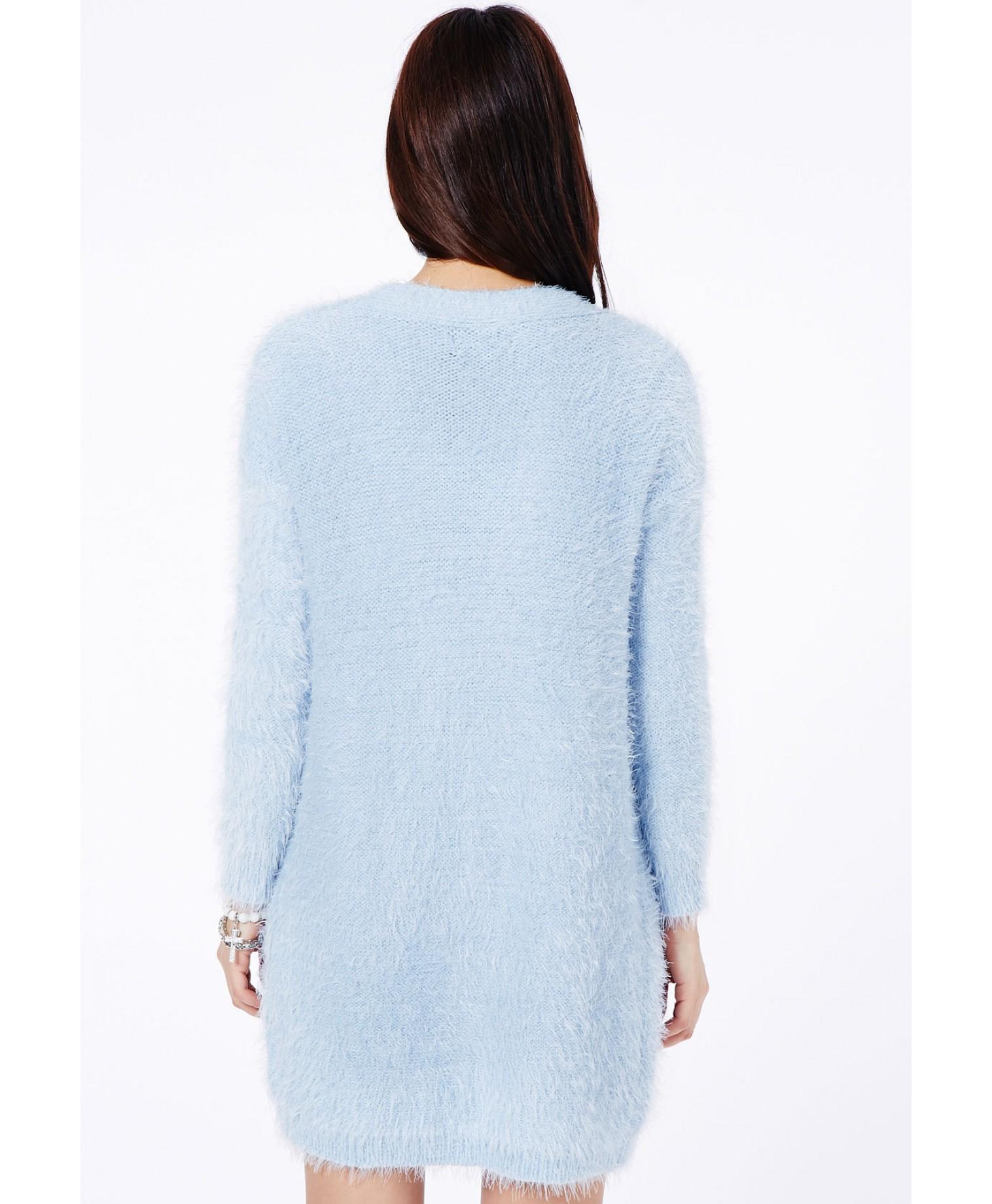 30750cfe12f3 Lyst - Missguided Satomi Eyelash Knit Cardigan in Baby Blue in Blue