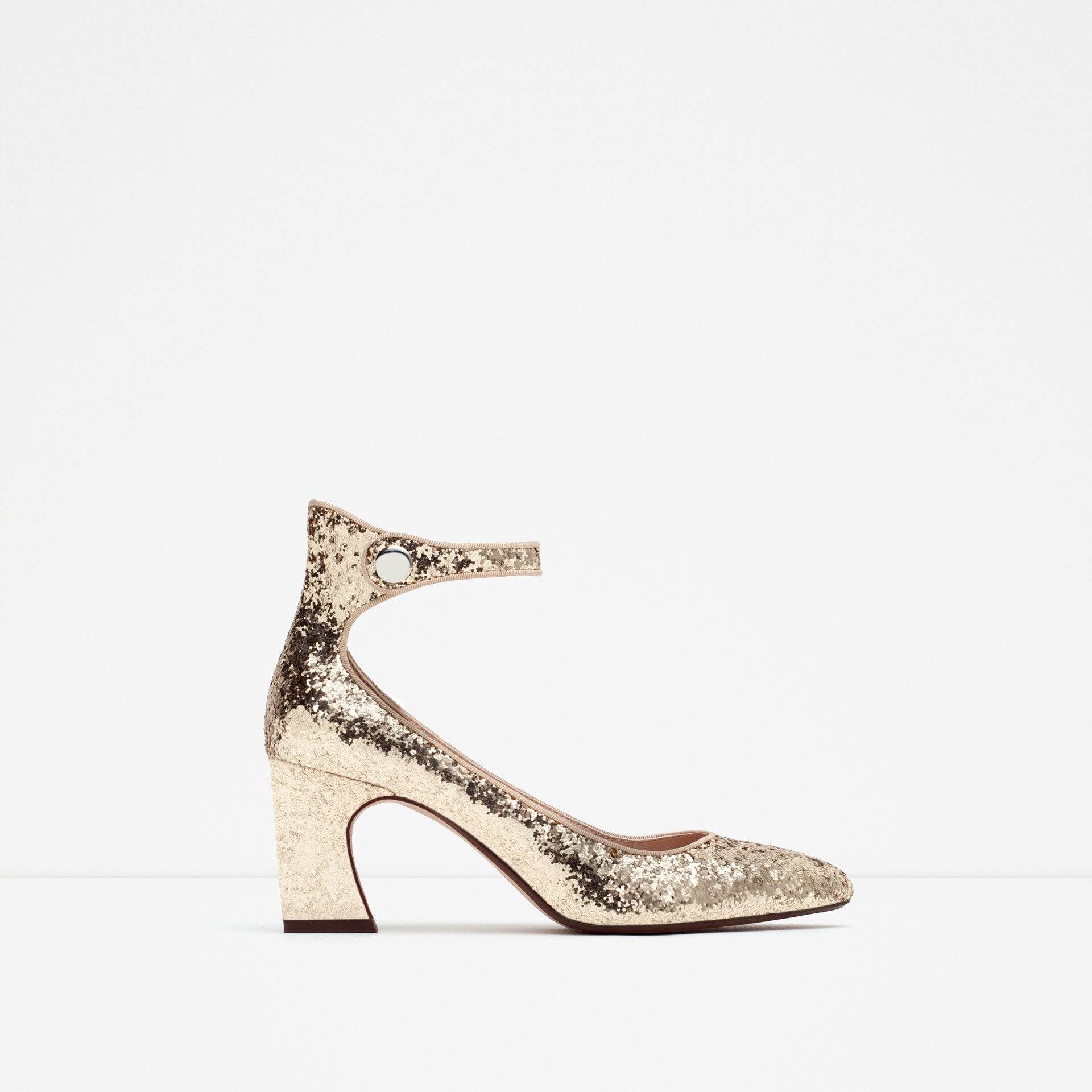 zara glitter high heel shoes in metallic lyst. Black Bedroom Furniture Sets. Home Design Ideas