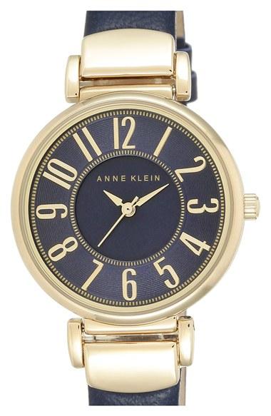 Lyst anne klein leather strap watch in blue for Anne klein leather strap