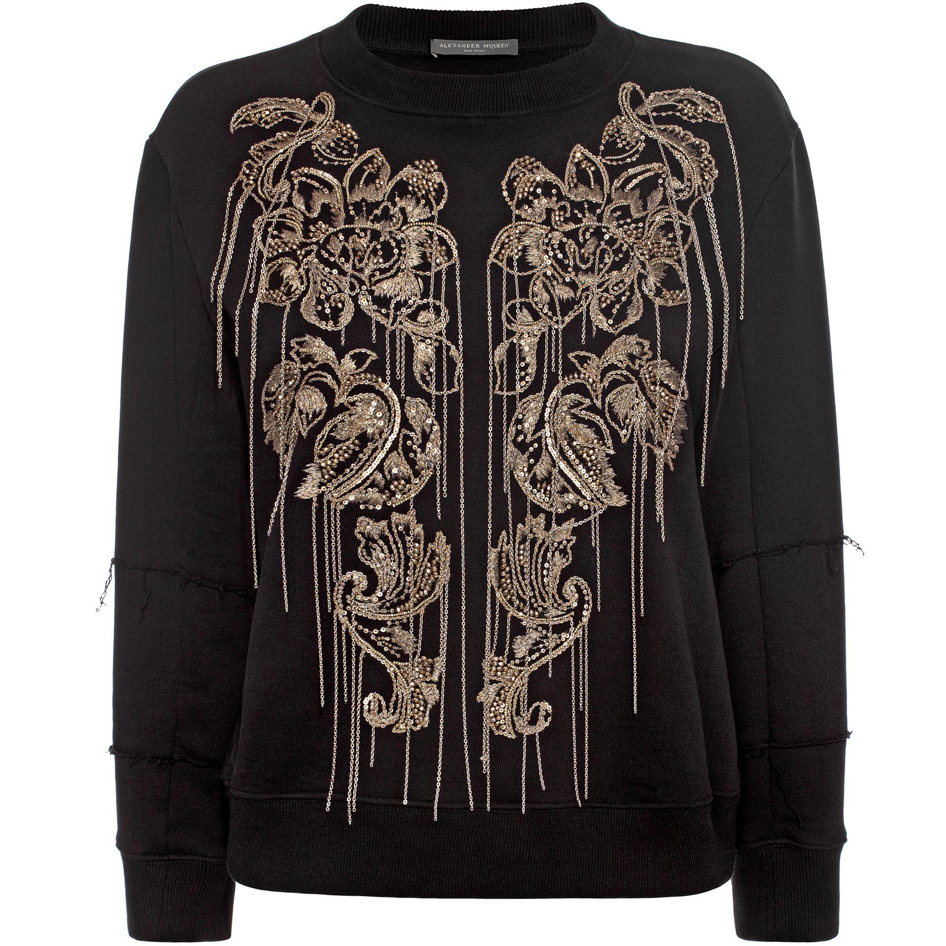 alexander mcqueen embellished cotton sweatshirt in black lyst. Black Bedroom Furniture Sets. Home Design Ideas