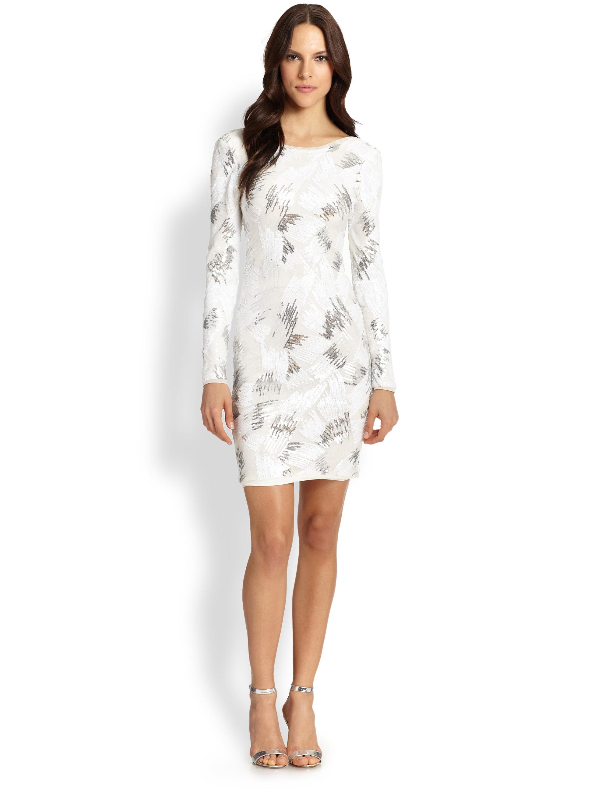 White Long Sleeve Cocktail Dress