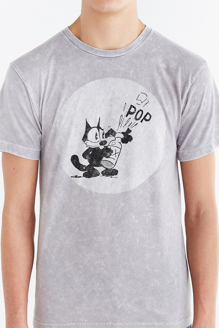 Urban outfitters felix the cat mineralized tee in gray for for Lucky cat shirt urban outfitters