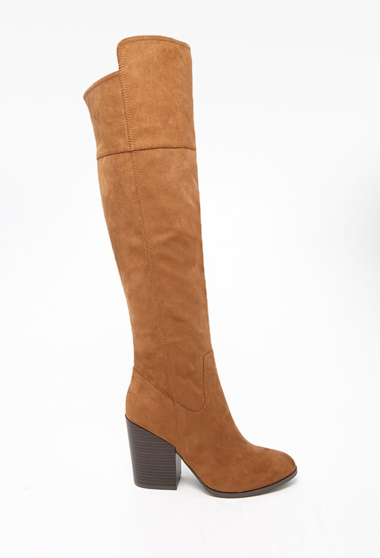 forever 21 faux suede knee high boots in brown lyst