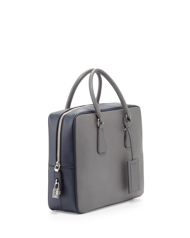 564971e07c1a Prada Saffiano Bicolor Zip-Around Briefcase in Gray for Men - Lyst