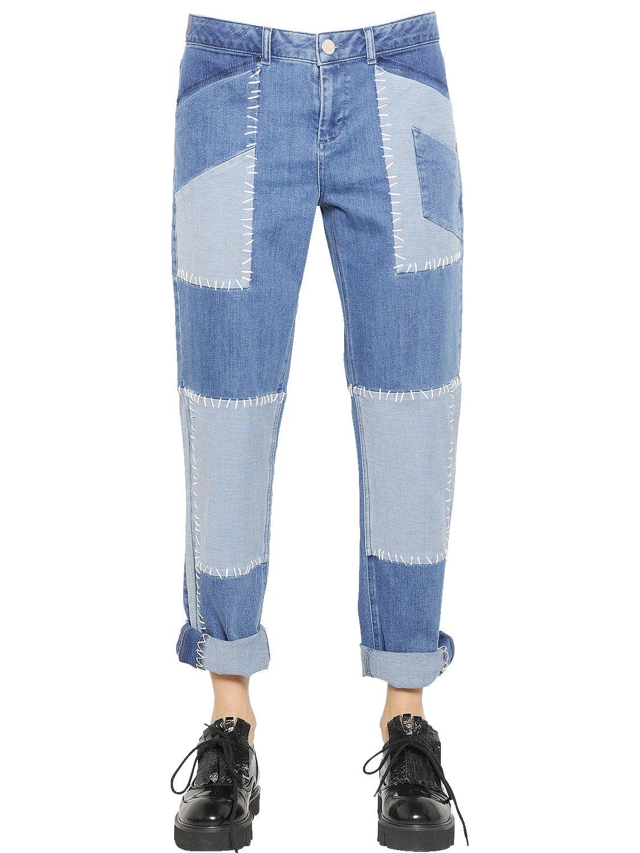 House Of Holland Patchwork Cotton Denim Boyfriend Jeans In Blue Lyst