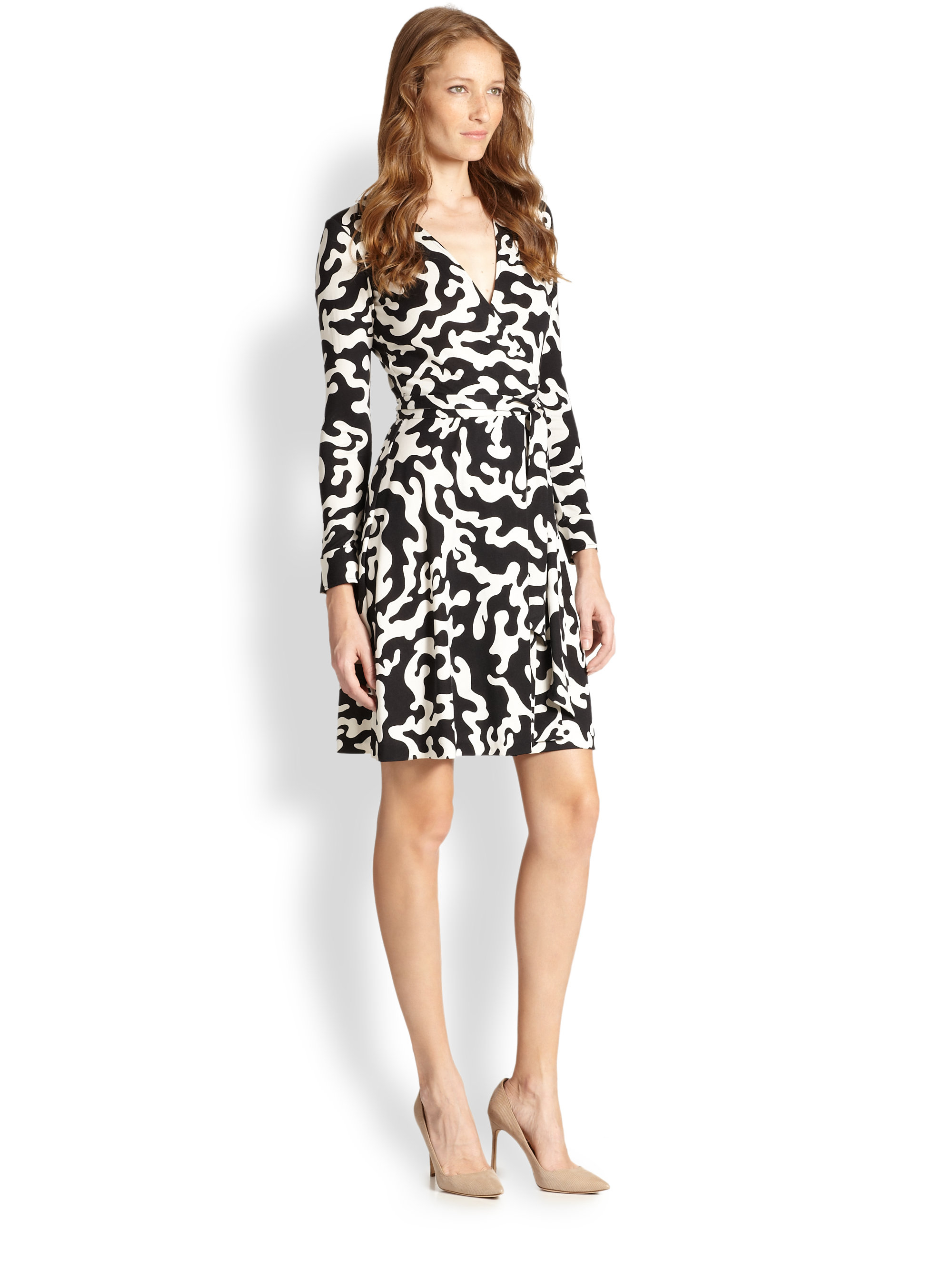 Diane von furstenberg firebird printed wrap dress in black for Diane von furstenberg clothes