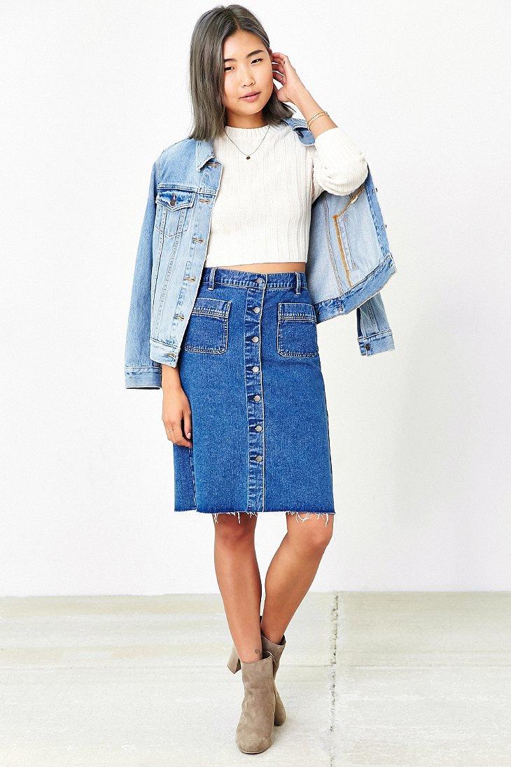 Bdg Button-front Denim Pencil Skirt in Blue   Lyst