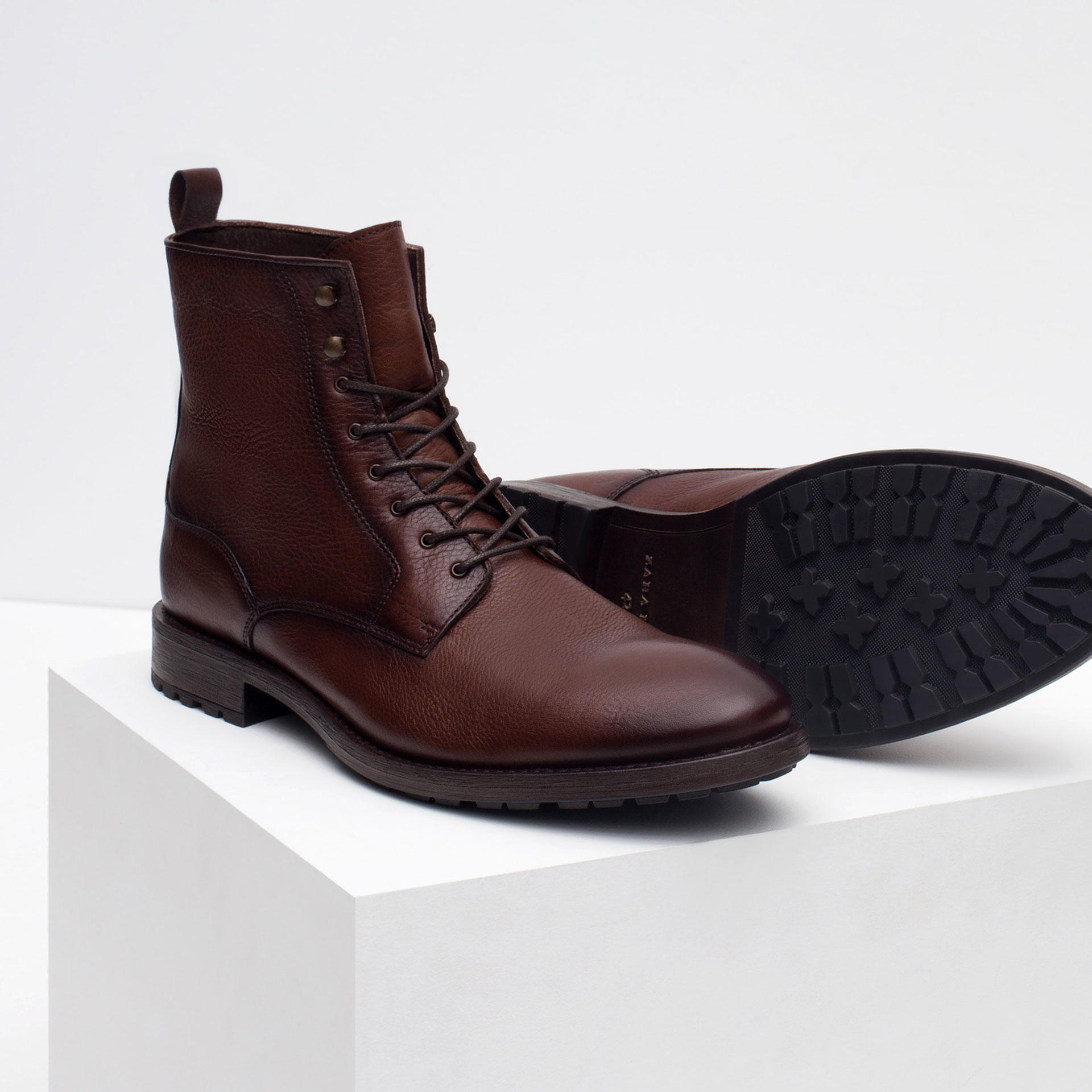 Zara Casual Leather Boots in Brown for Men | Lyst