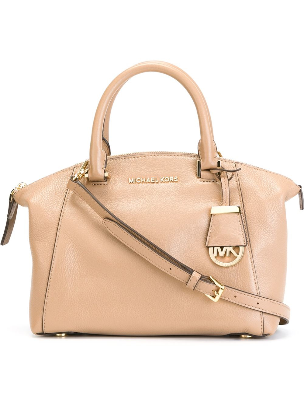cd3b9725c93c ... coupon lyst michael kors small riley satchel in natural e2969 720f5