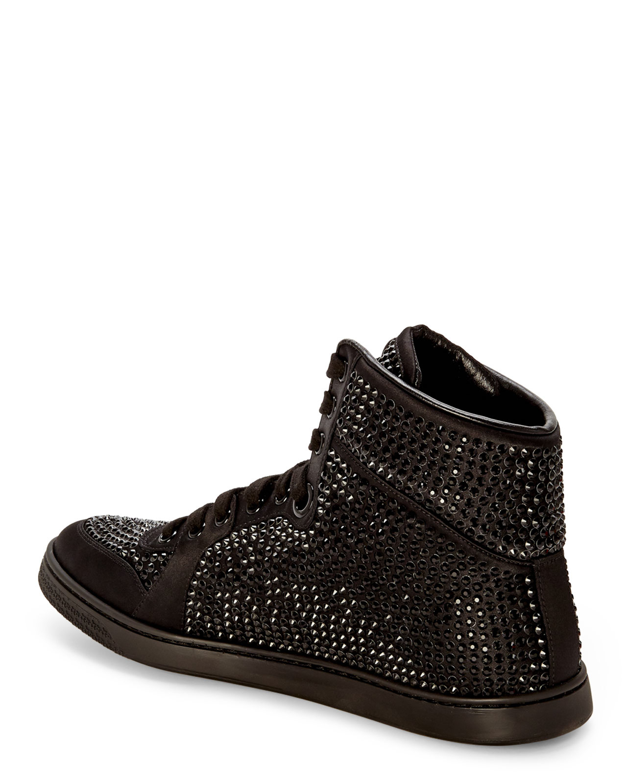 gucci black studded hightop sneakers in black lyst