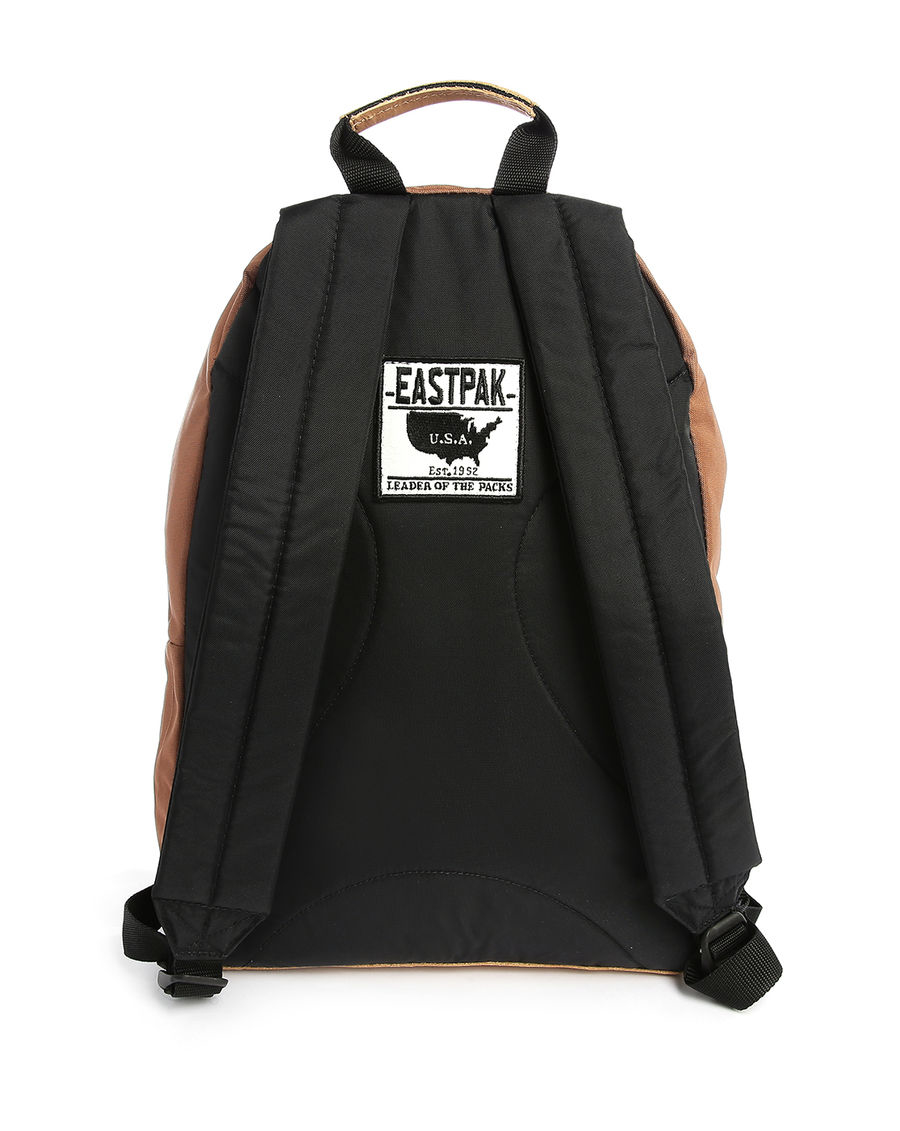 Leather Eastpak Backpack: Eastpak Brown Wyoming Leather Details Backpack 24 L In