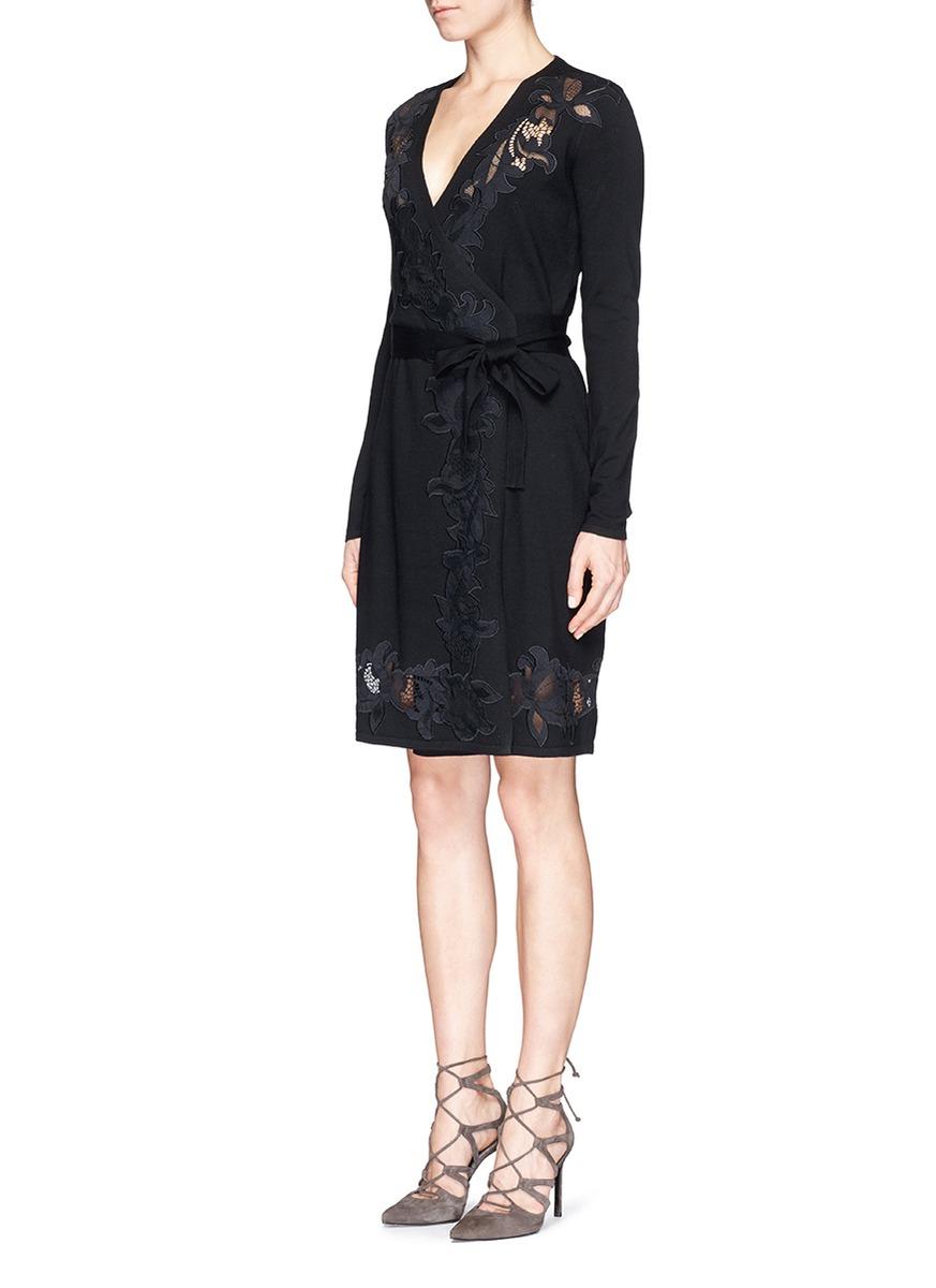 Lyst diane von furstenberg 39 leandra 39 floral lace knit for Diane von furstenberg clothes