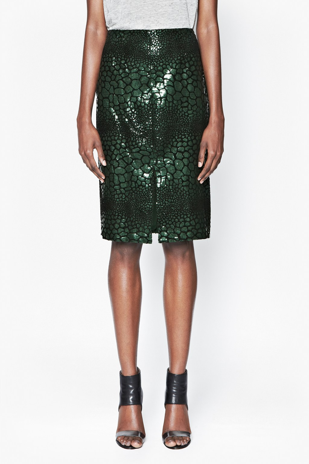 e44a8d89b French Connection Fast Croc Flock Skirt in Green - Lyst