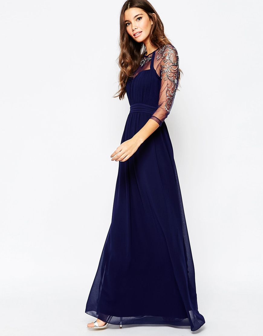 d2fb08293fd7 Lyst - Little Mistress Mesh Sleeve Embellished Maxi Dress in Blue