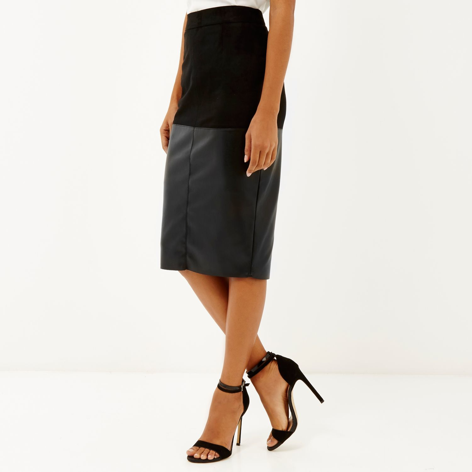 River island Black Faux-suede Pencil Skirt in Black | Lyst