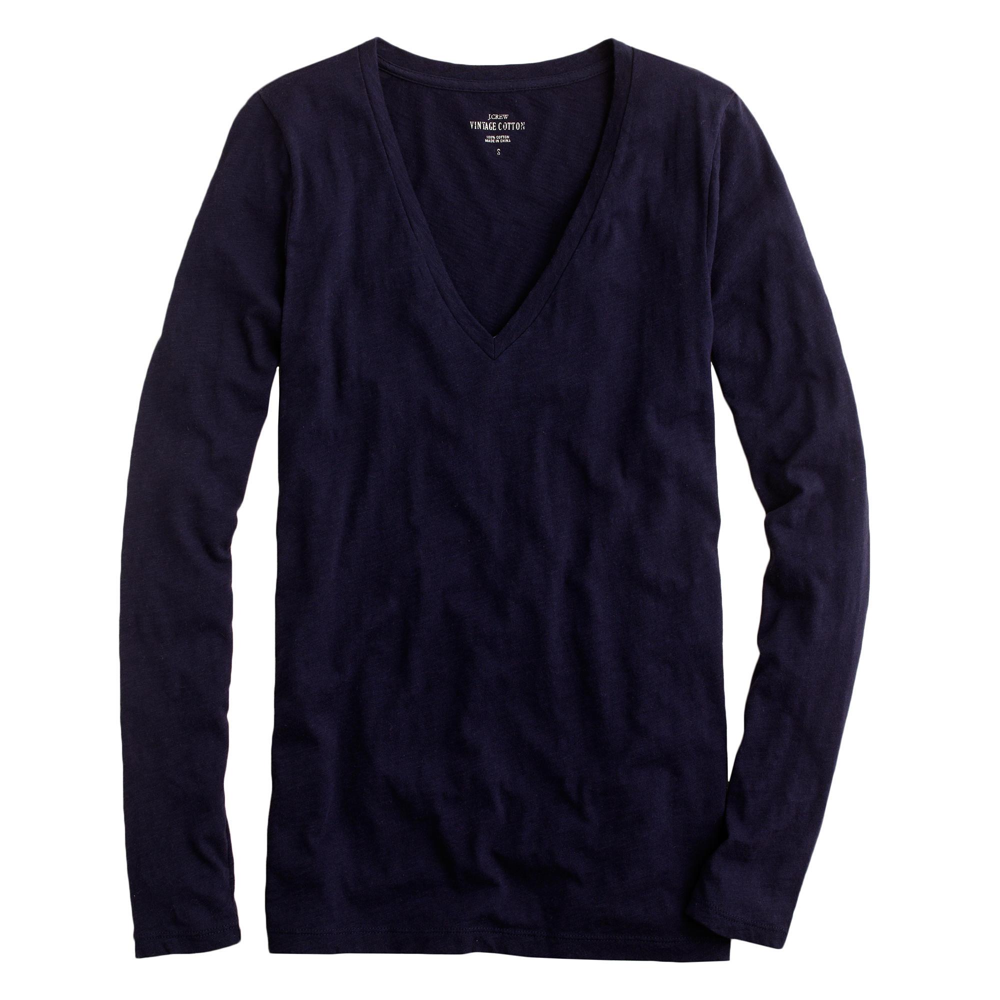 Vintage cotton long sleeve v neck t shirt in blue for Cotton long sleeve v neck t shirts