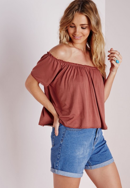 c5c1f357a1e1d0 Lyst - Missguided Jersey Bardot Crop Top Terracotta in Red