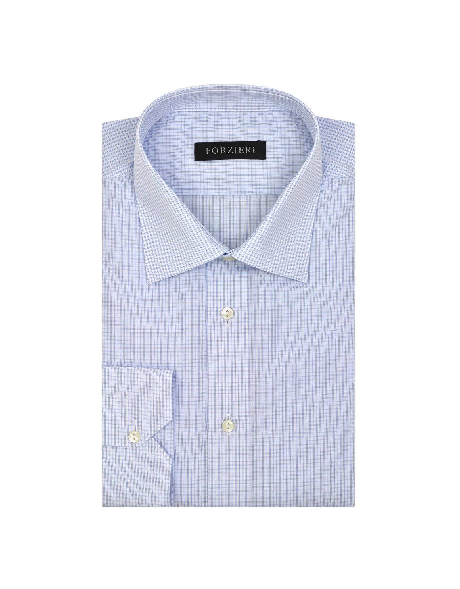 Forzieri micro checked non iron cotton dress shirt in for White non iron dress shirts
