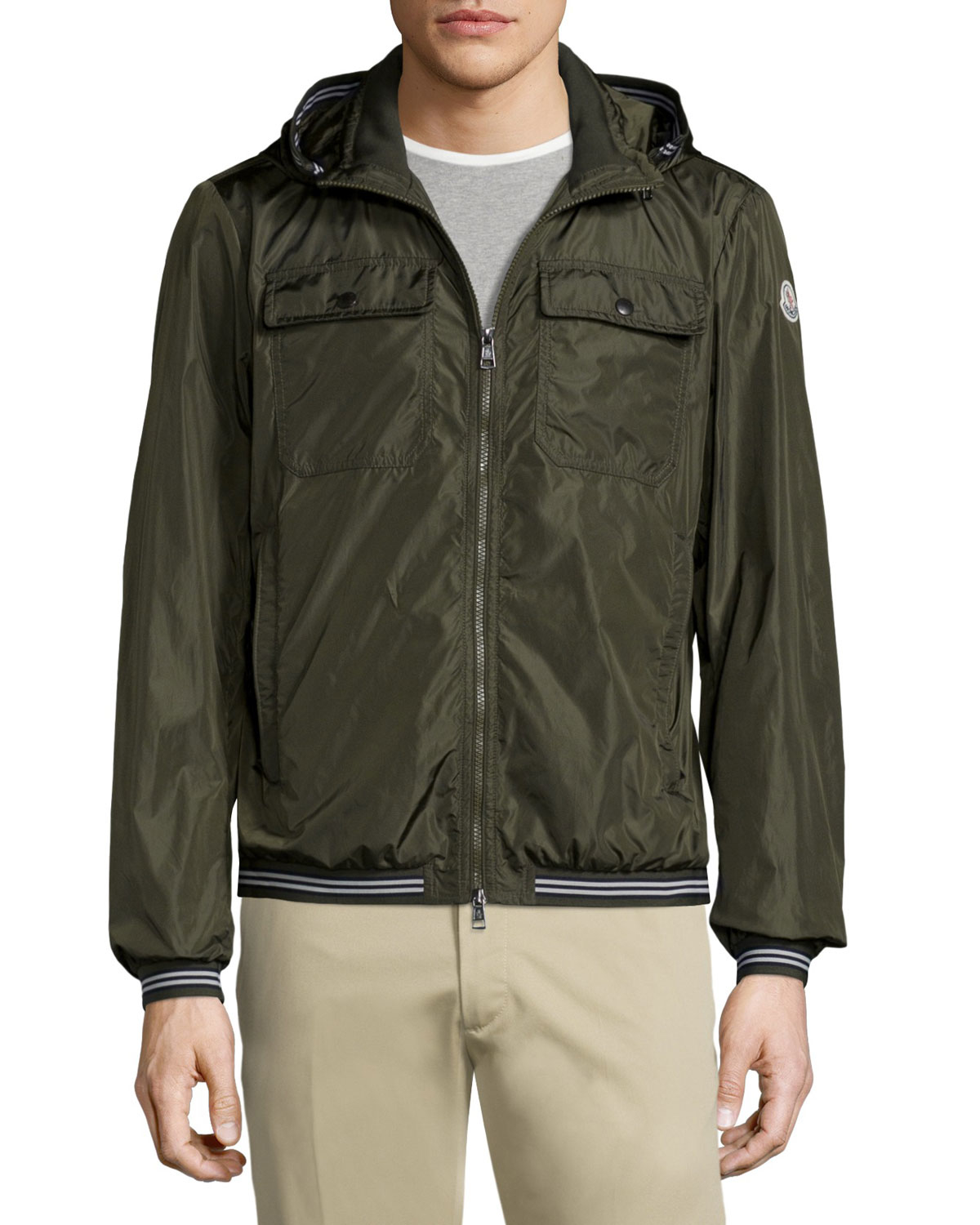 Moncler Jean Luc Hooded Nylon Jacket in Green for Men | Lyst
