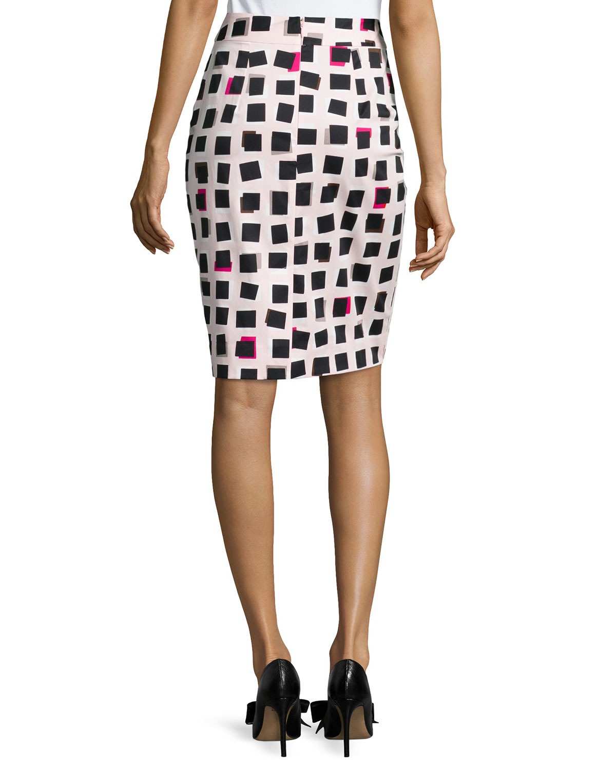 kate spade new york abstract checkered pencil skirt lyst