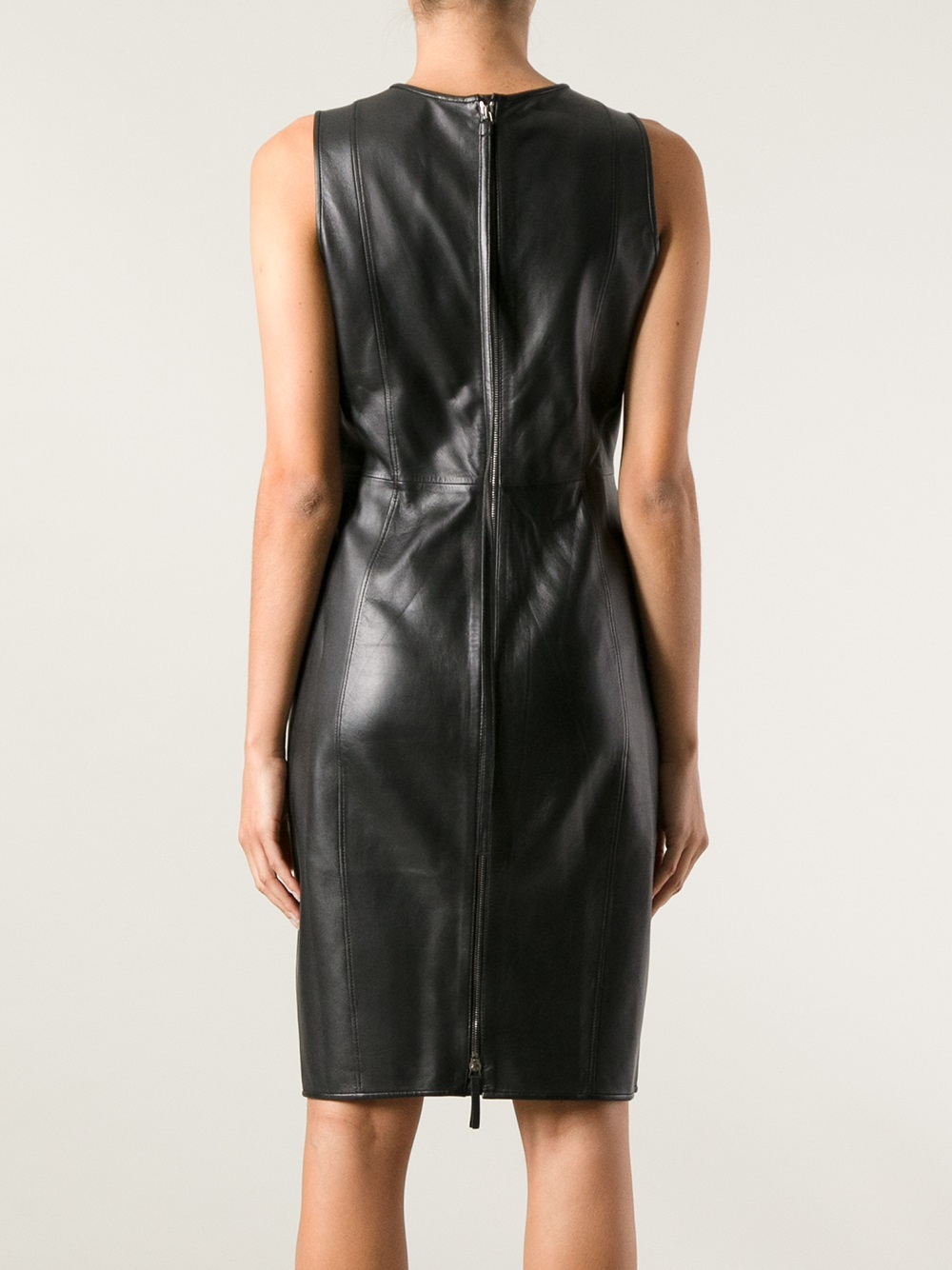 Lyst Emporio Armani Sleeveless Leather Dress In Black