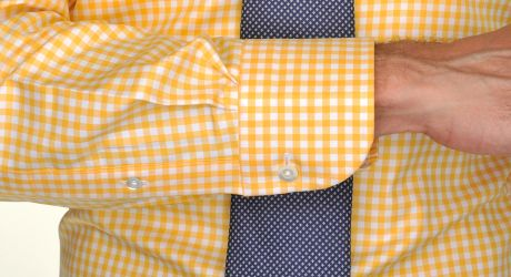 Ledbury the yellow gingham twill in yellow for men lyst for Mens yellow gingham shirt
