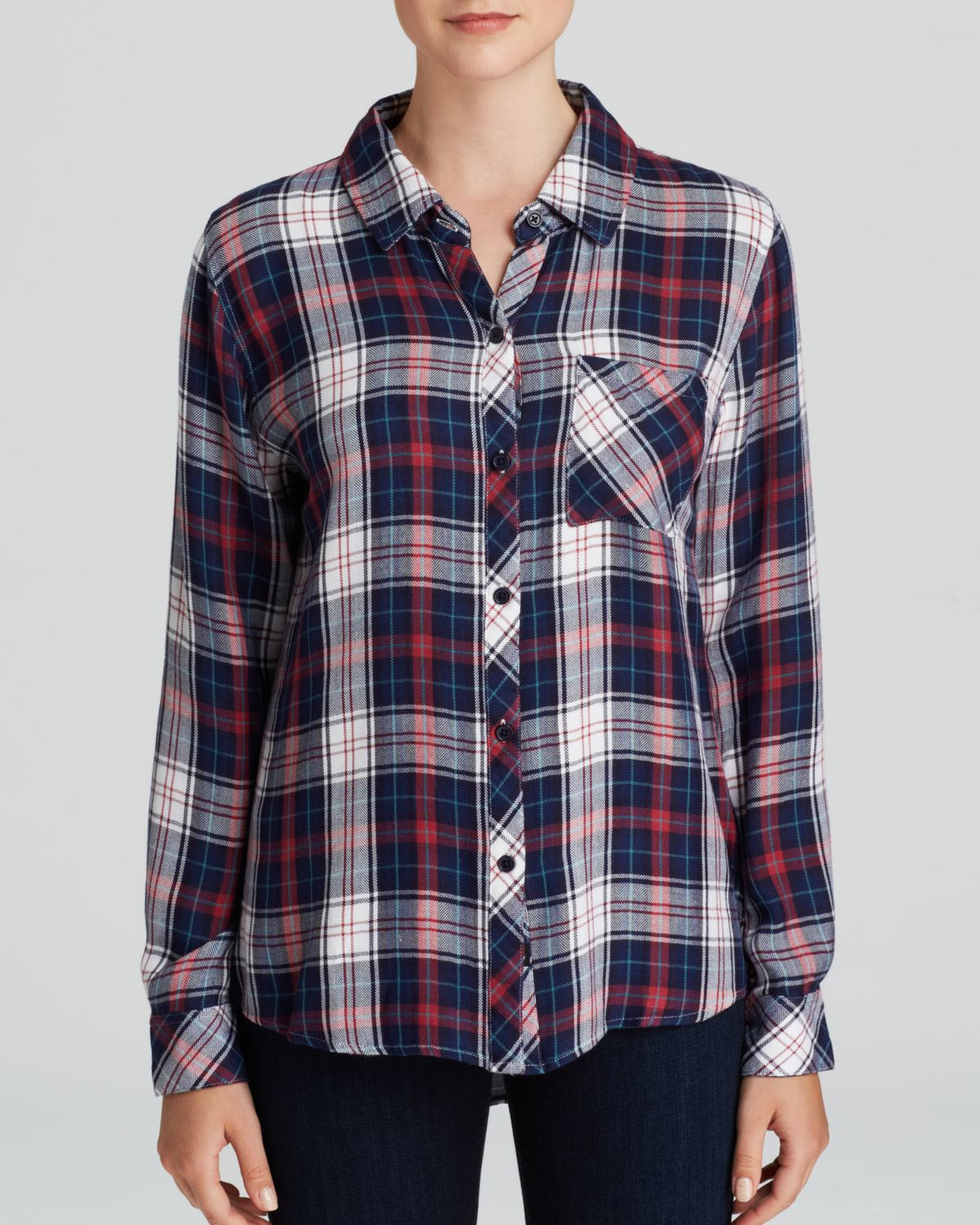rails hunter plaid button down shirt in blue rouge navy. Black Bedroom Furniture Sets. Home Design Ideas