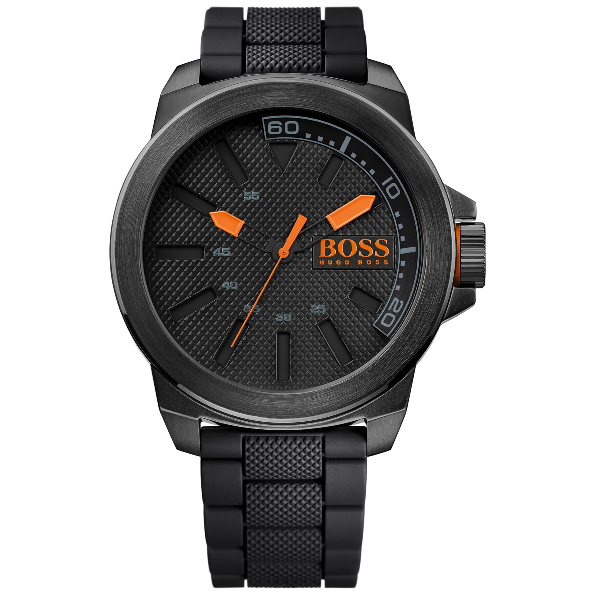 Boss Orange Hugo Boss Men S Black Silicone Strap Watch