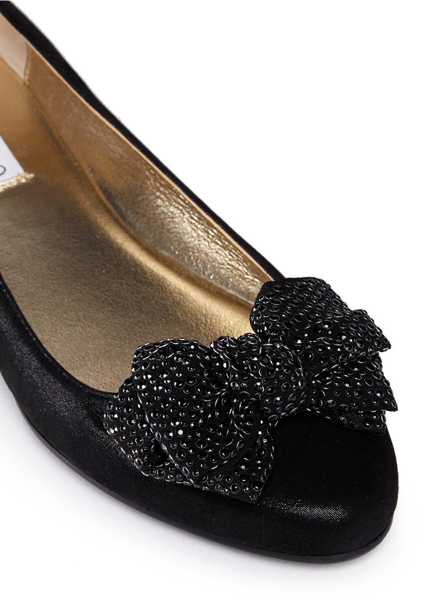 84f9e6dccec60f Lyst - Jimmy Choo  wylie  Rhinestone Bow Shimmer Suede Flats in Black