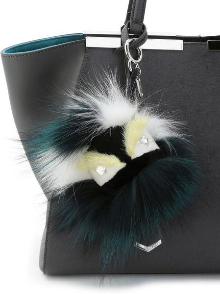 Fendi Crystaleyed Fur Monster Charm For Handbag In Green