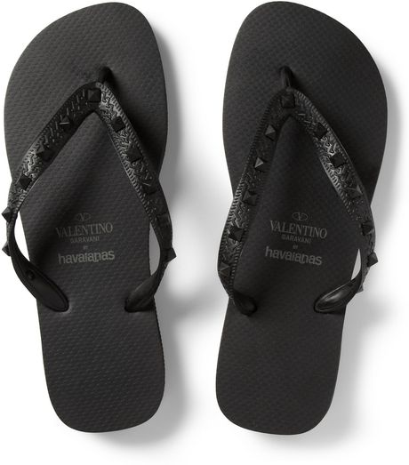 valentino havaianas studded rubber flip flops in black for men lyst. Black Bedroom Furniture Sets. Home Design Ideas