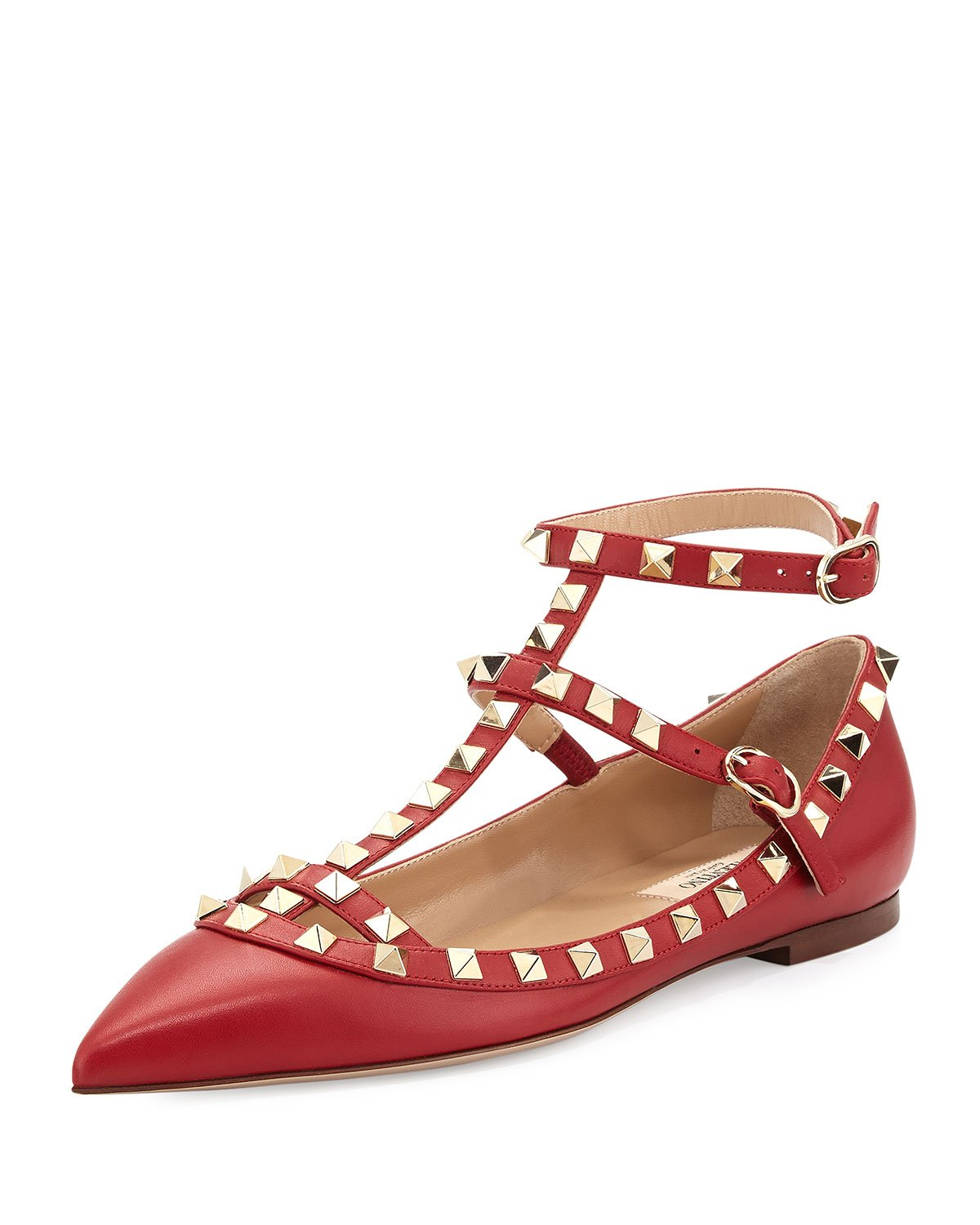 Valentino Rockstud Cage Leather Ballerina Flat in Red | Lyst